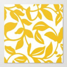 PALM LEAF VINE LEAF YELLOW PATTERN Canvas Print