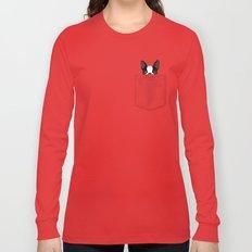 Pocket Boston Terrier Long Sleeve T-shirt