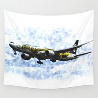 hobbit Wall Tapestries featuring Air New Zealand Hobbit Boeing 777 Art by David Pyatt