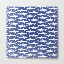 School of Sharks Blue Ocean Metal Print