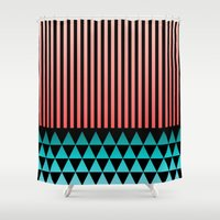 peach Shower Curtains featuring Peach/Teal by Lyle Hatch
