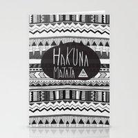 hakuna Stationery Cards featuring HAKUNA MATATA  by Vasare Nar