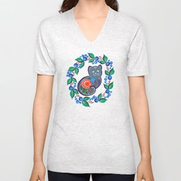 Gray cat Unisex V-Neck