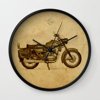 ducati Wall Clocks featuring Ducati motorcycle Meccanica by Larsson Stevensem