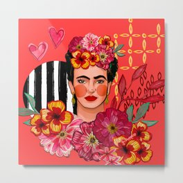 Frida Bouquet Metal Print