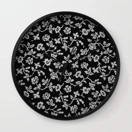 white rose pattern Wall Clock