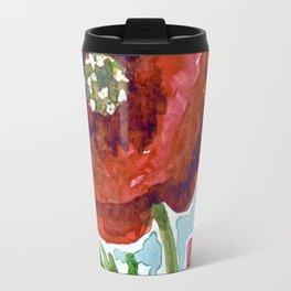 RED POPPY FLOWERS in watercolor Travel Mug