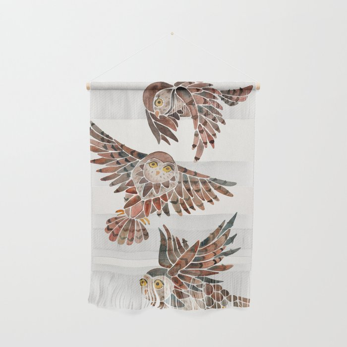 Owls in Flight – Brown Palette Wall Hanging