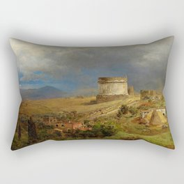 Via Appia with the Tomb of Caecilia Metella in Roman Italian Countryside by Oswald Achenbach Rectangular Pillow