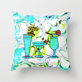 Summer Pool Party Cocktails , Watercolor Painting in Aqua Tequila Sunrise Colors Throw Pillow