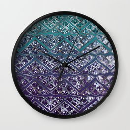 Purple Aqua MERMAID Glitter Scales Dream #2 #shiny #decor #art #society6 Wall Clock