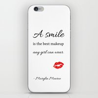 marylin monroe iPhone & iPod Skins featuring Marylin monroe Quote typography  by Home Art & Beyond
