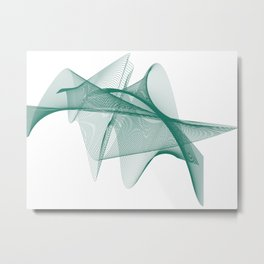 Overlapping Lines Abstract Pattern In Teal Metal Print