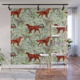 IRISH RED SETTER DOGS & GREEN CLOVER MEADOW Wall Mural