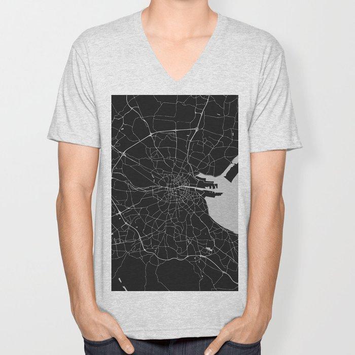 Black on Light Gray Dublin Street Map Unisex V-Neck