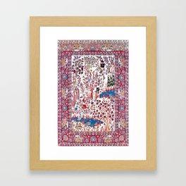 Esfahan Central Persian Silk Rug Print Framed Art Print