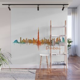 Dubai, emirates, City Cityscape Skyline watercolor art v2 Wall Mural