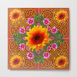 Celtic Fuchsia Green Sunflowers Dahlias Art Design Metal Print