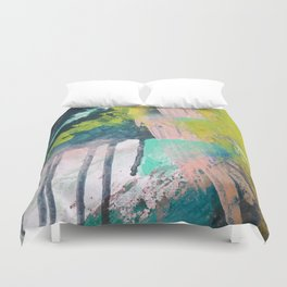 Melt: a vibrant abstract mixed media piece in blues, greens, pink, and white Duvet Cover