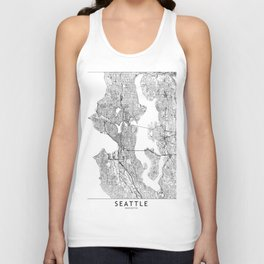 Seattle White Map Unisex Tank Top