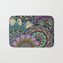 Colorful Floral Mandala Pattern with Geometric Drawings Bath Mat
