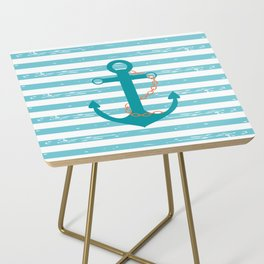 AFE Nautical Teal Ship Anchor Side Table