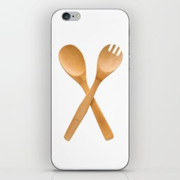 Crossed fork and spoon sign iPhone Skin
