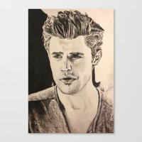 wesley bird Canvas Prints featuring Paul Wesley by vanessa