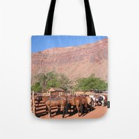 utah Tote Bags featuring Horses Utah by BACK to THE ROOTS