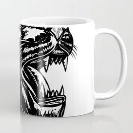 Growling Tiger Woodcut Black and White Coffee Mug