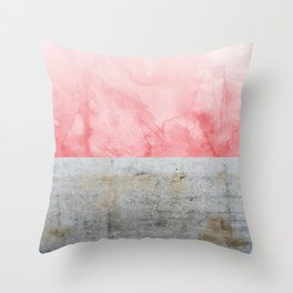 Concrete and Pink Throw Pillow