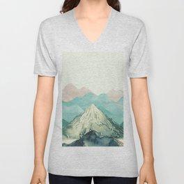 Mountains Landscape Watercolor Unisex V-Neck