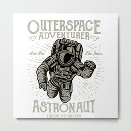 Outerspace Astronaut Retro Metal Print