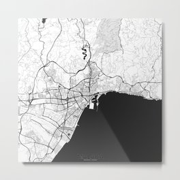 Malaga Map Gray Metal Print