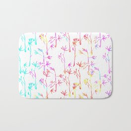 Trendy pink teal watercolor modern bamboo trees floral Bath Mat