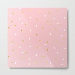 Pink & Gold Polka Metal Print