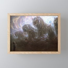 Fascinating Little Boy And Ferocious Fantasy Big Cats Tiger Leopard Lynx Clouds Ultra HD Framed Mini Art Print