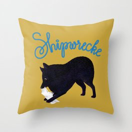 Shipwrecke (Yellow and Blue) Throw Pillow