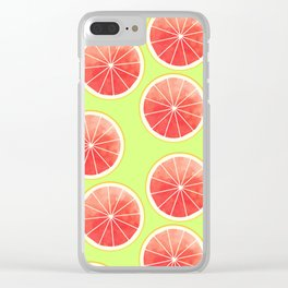 Pink Grapefruit Slices Pattern Clear iPhone Case