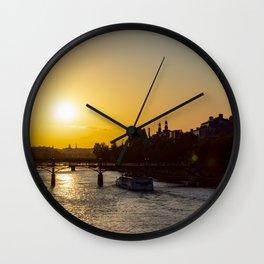 Pont des arts at sunset - Paris, France Wall Clock