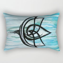 Lotus in the Rain I Rectangular Pillow