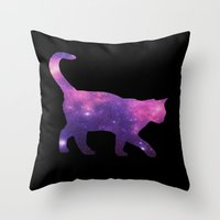 space cat Throw Pillows featuring SPACE CAT by Caio Trindade