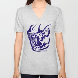 face8 blue Unisex V-Neck