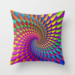 Psychedelic Geometric Rainbow Spiral  Throw Pillow