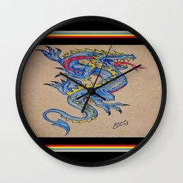 blue dragon parchment card (horizontal) Wall Clock