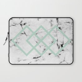 White Marble Concrete Look Mint Green Geometric Squares Laptop Sleeve