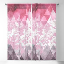 Abstract pink gray watercolor floral triangles Blackout Curtain