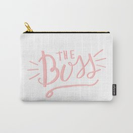 The Boss - pink/white Hand lettering Carry-All Pouch