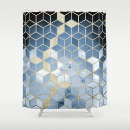 Shades Of Blue Cubes Pattern Shower Curtain