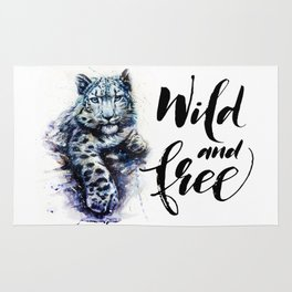 Snow leopard wild and free Rug